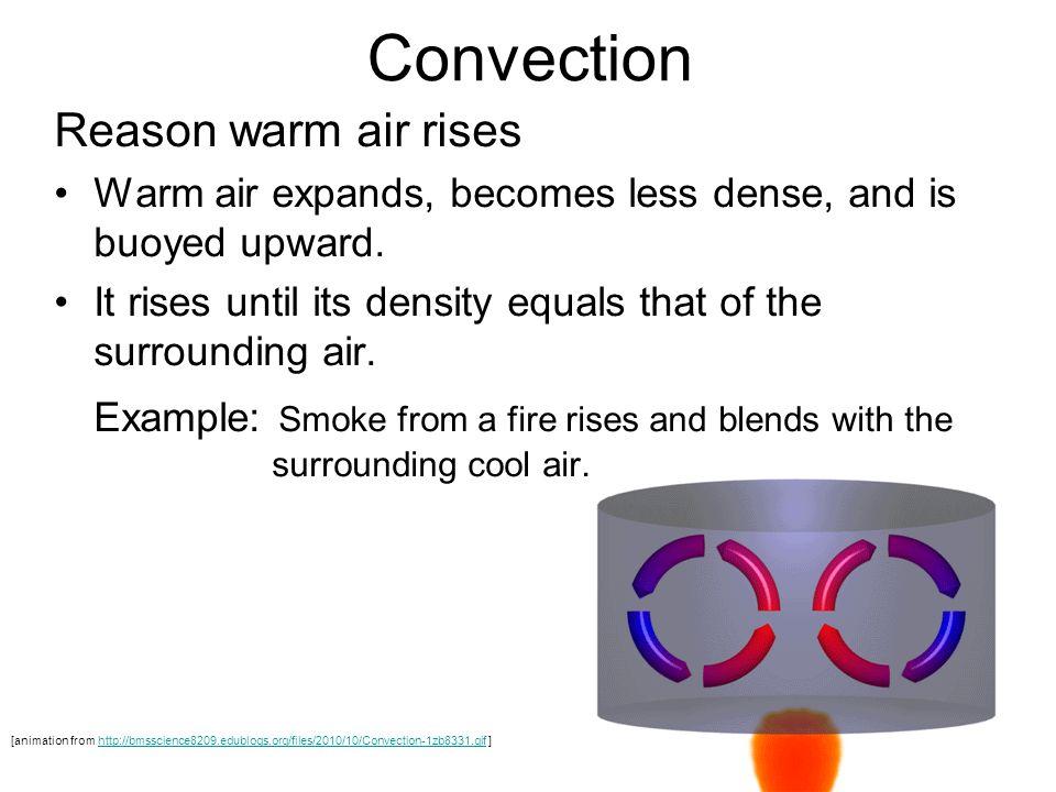 Convection Reason warm air rises Warm air expands, becomes less dense, and is buoyed upward.