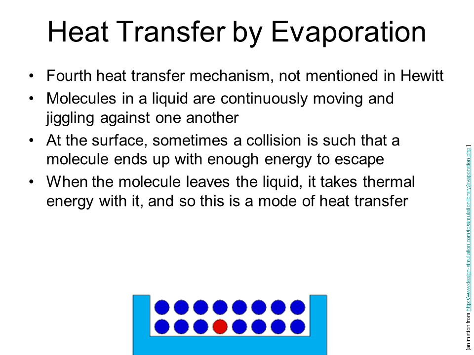 Heat Transfer by Evaporation Fourth heat transfer mechanism, not mentioned in Hewitt Molecules in a liquid are continuously moving and jiggling against one another At the surface, sometimes a collision is such that a molecule ends up with enough energy to escape When the molecule leaves the liquid, it takes thermal energy with it, and so this is a mode of heat transfer [animation from http://www.design-simulation.com/ip/simulationlibrary/evaporation.php ]http://www.design-simulation.com/ip/simulationlibrary/evaporation.php