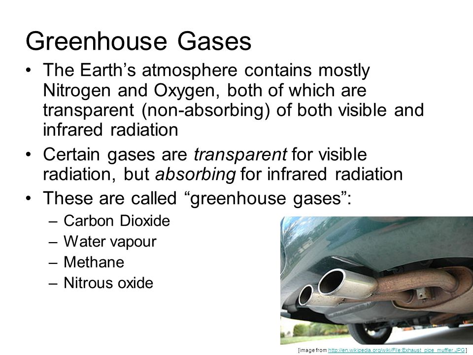 Greenhouse Gases The Earth's atmosphere contains mostly Nitrogen and Oxygen, both of which are transparent (non-absorbing) of both visible and infrared radiation Certain gases are transparent for visible radiation, but absorbing for infrared radiation These are called greenhouse gases : –Carbon Dioxide –Water vapour –Methane –Nitrous oxide [image from http://en.wikipedia.org/wiki/File:Exhaust_pipe_muffler.JPG ]http://en.wikipedia.org/wiki/File:Exhaust_pipe_muffler.JPG