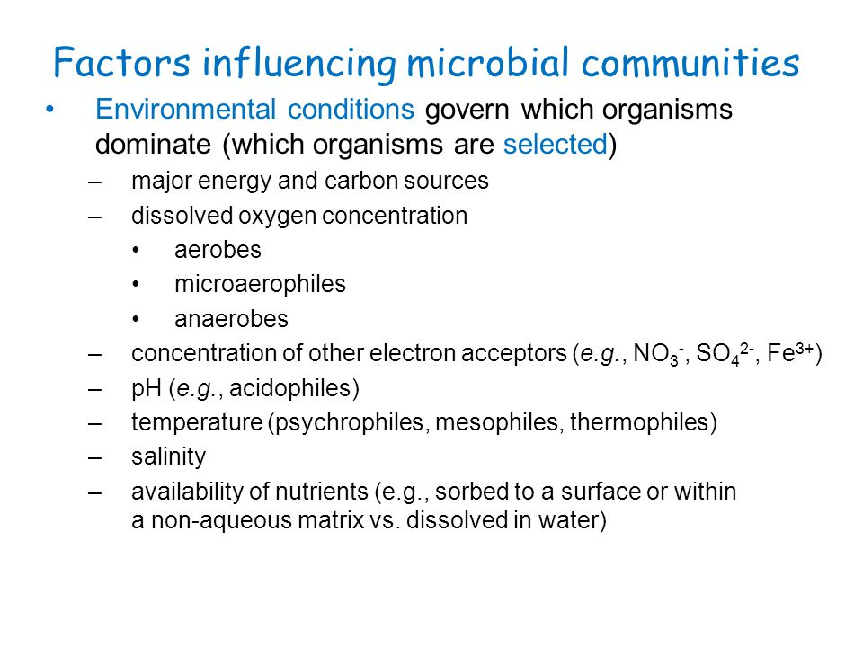 Microbial groups (continued) ammonia removal by nitrification (aerobic process): ammonia-oxidizing bacteria: NH 4 + + 1.5O 2  NO 2 - + H 2 O + 2H + nitrite-oxidizing bacteria: NO 2 - + 0.5O2  NO 3 - Net: NH 4 + + 2O 2  NO 3 - + H 2 O + 2H + denitrification (anaerobic process): facultative heterotrophic bacteria: organic substrates + NO 3 -  N 2 note nitrogen removal occurs by nitrification + denitrification removal of ammonia and nitrogen by anaerobic ammonia oxidation ( anammox ): anaerobic bacteria NH 4 + + NO 2 -  N 2 + 2H 2 O biological phosphorus removal: facultative heterotrophs –under anaerobic conditions, hydrolyze stored polyphosphate to accumulate intracellular organic polymer (e.g., polyhydroxybutyrate) –under aerobic conditions, oxidize stored organic polymer to accumulate phosphate as intracellular poly-phosphate