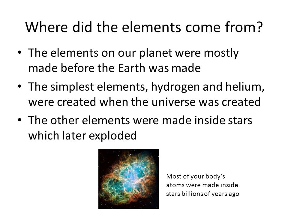 Where did the elements come from.