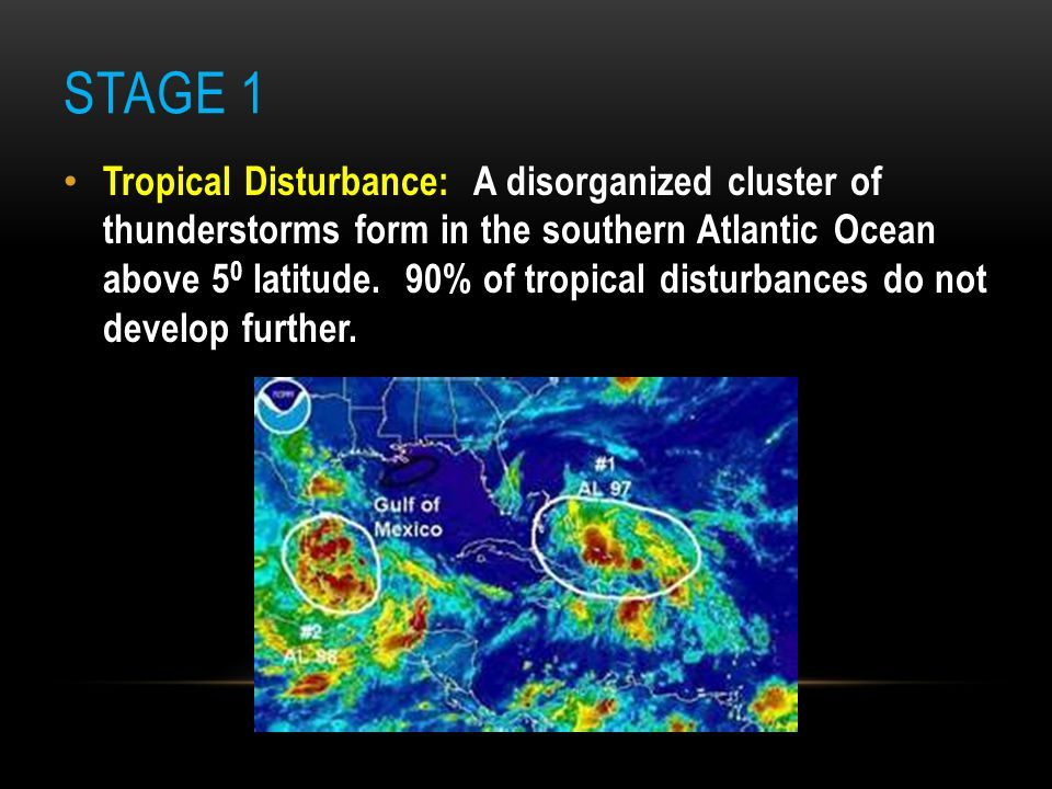 STAGE 2 Tropical Depression: The pressure lowers causing the tropical disturbance to begin organizing in to bands of thunderstorms with cyclonic rotation.