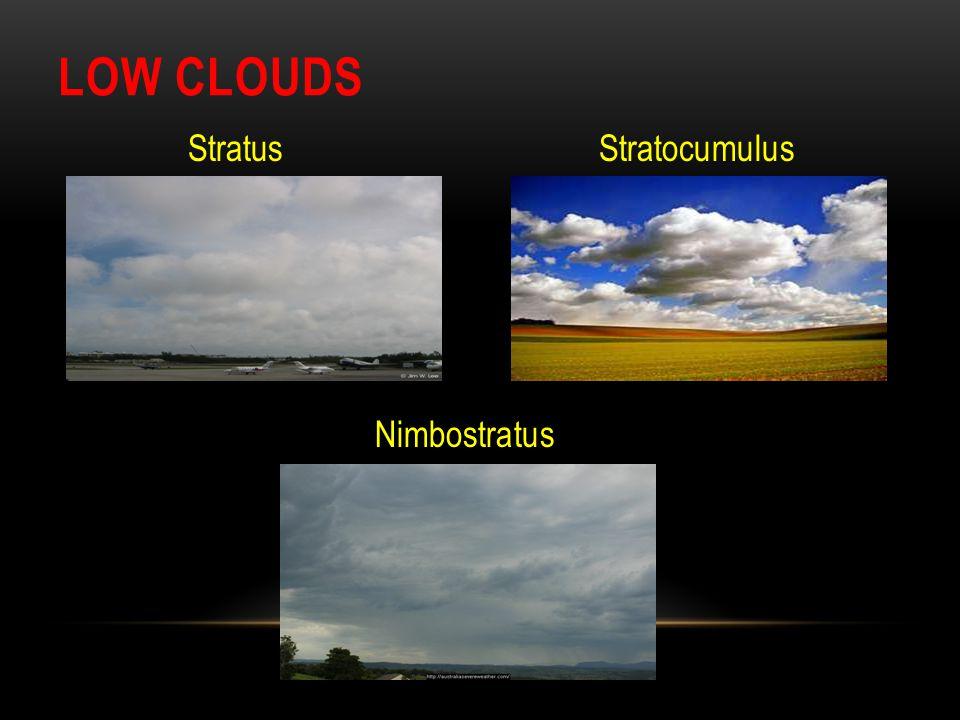 LOW CLOUDS Stratus Stratocumulus Nimbostratus