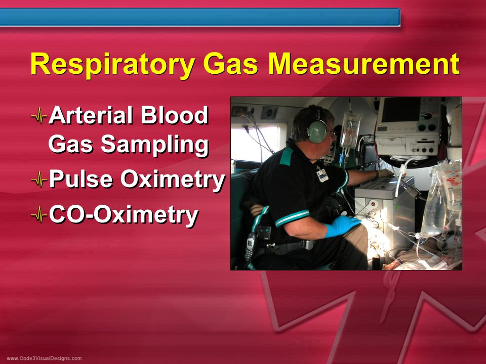 Respiratory Gas Measurement Arterial Blood Gas Sampling Pulse Oximetry CO-Oximetry Arterial Blood Gas Sampling Pulse Oximetry CO-Oximetry