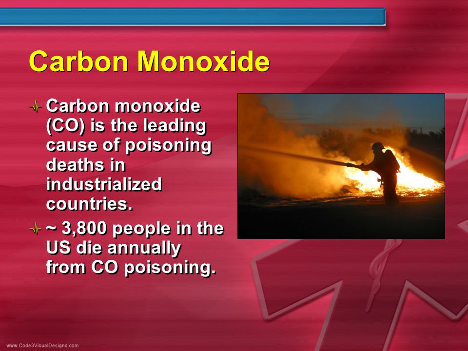 Carbon Monoxide Carbon monoxide (CO) is the leading cause of poisoning deaths in industrialized countries. ~ 3,800 people in the US die annually from