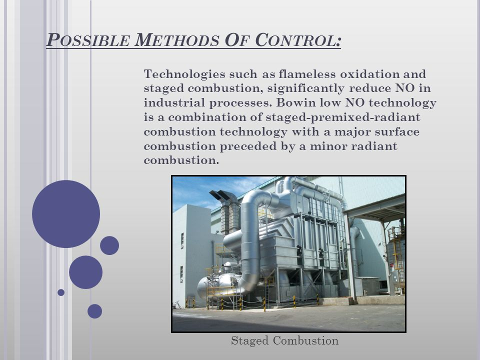 P OSSIBLE M ETHODS O F C ONTROL : Technologies such as flameless oxidation and staged combustion, significantly reduce NO in industrial processes. Bow