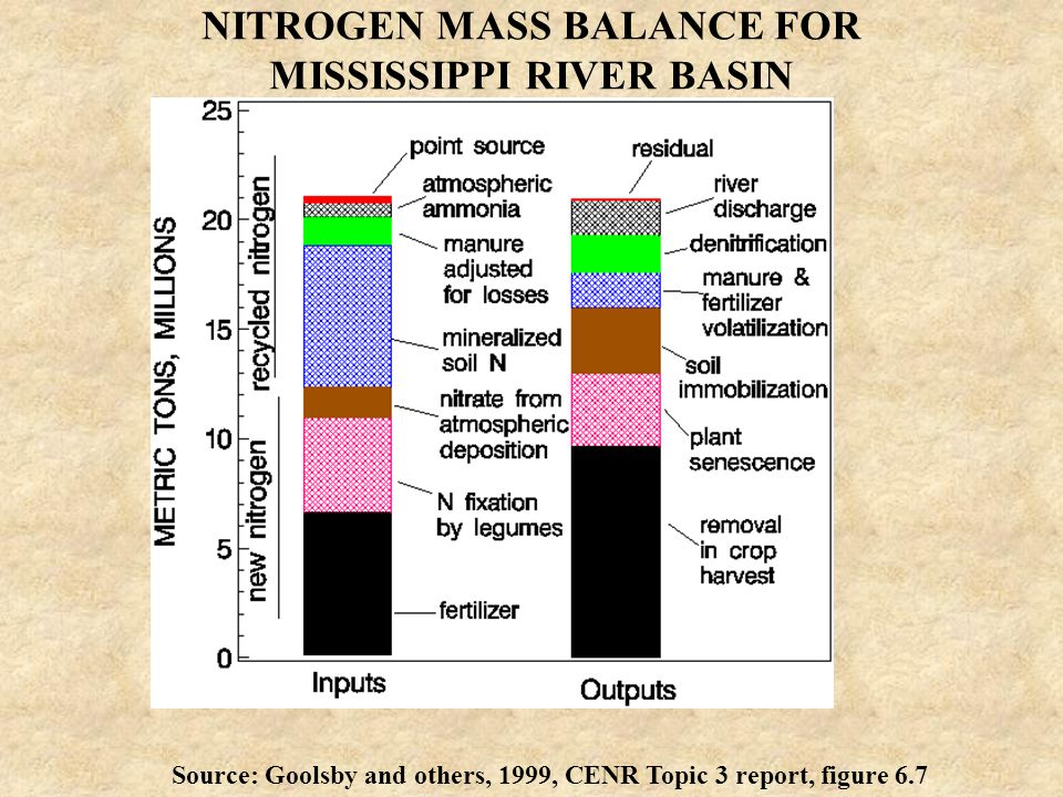 NITROGEN MASS BALANCE FOR MISSISSIPPI RIVER BASIN Source: Goolsby and others, 1999, CENR Topic 3 report, figure 6.7