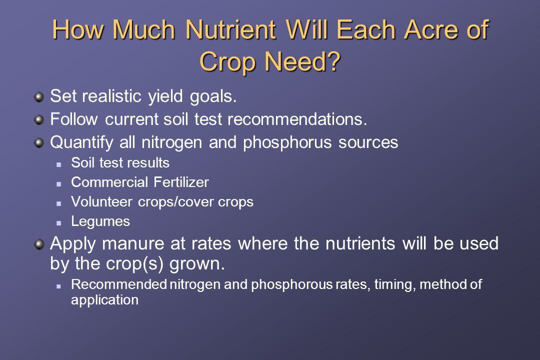 How Much Nutrient Will Each Acre of Crop Need. Set realistic yield goals.