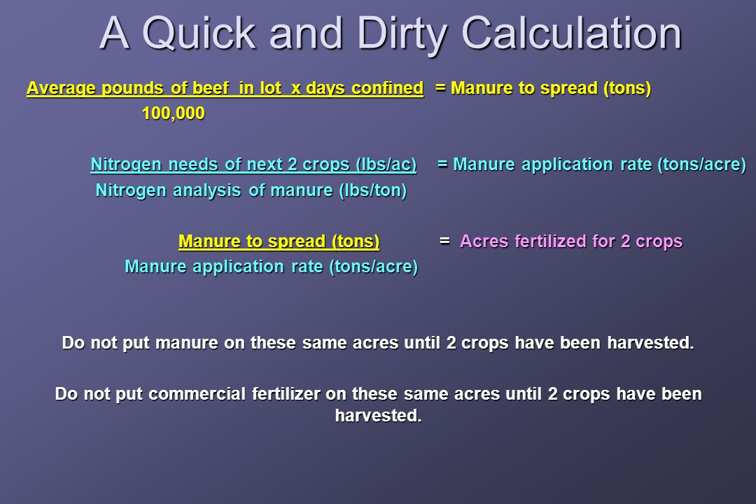 A Quick and Dirty Calculation Average pounds of beef in lot x days confined = Manure to spread (tons) Average pounds of beef in lot x days confined = Manure to spread (tons)100,000 Nitrogen needs of next 2 crops (lbs/ac) = Manure application rate (tons/acre) Nitrogen needs of next 2 crops (lbs/ac) = Manure application rate (tons/acre) Nitrogen analysis of manure (lbs/ton) Nitrogen analysis of manure (lbs/ton) Manure to spread (tons) = Acres fertilized for 2 crops Manure to spread (tons) = Acres fertilized for 2 crops Manure application rate (tons/acre) Manure application rate (tons/acre) Do not put manure on these same acres until 2 crops have been harvested.