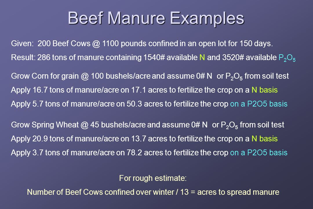 Beef Manure Examples Given: 200 Beef 1100 pounds confined in an open lot for 150 days.