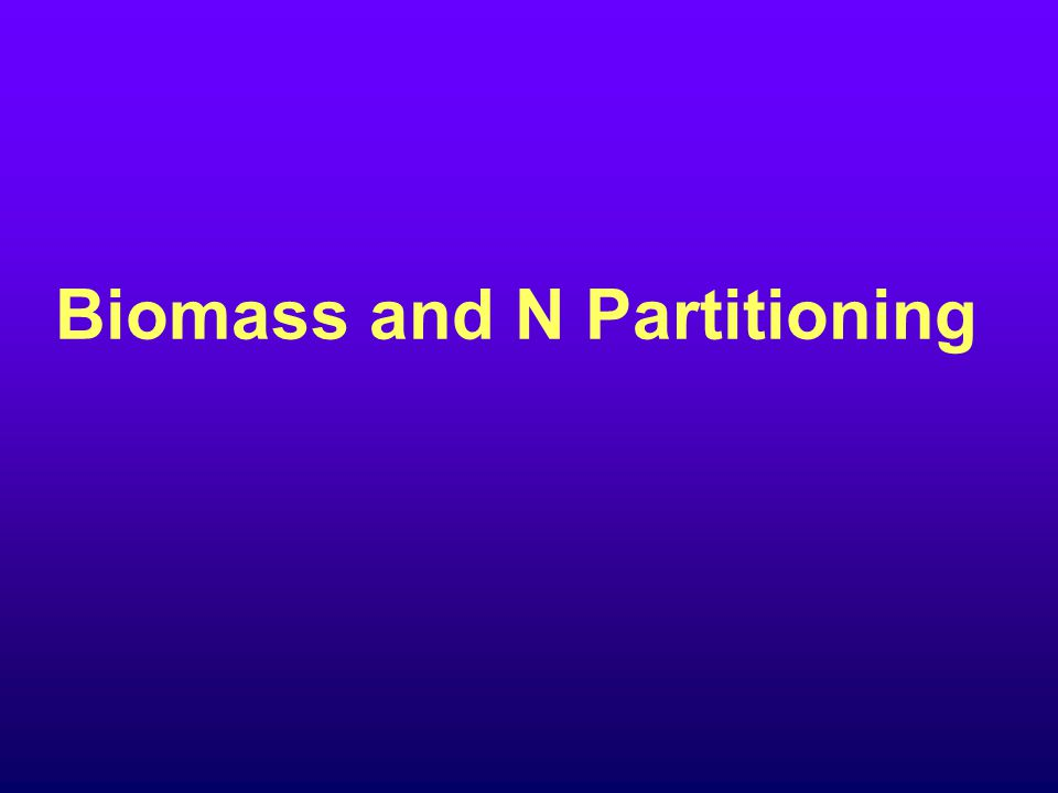 Biomass and N Partitioning