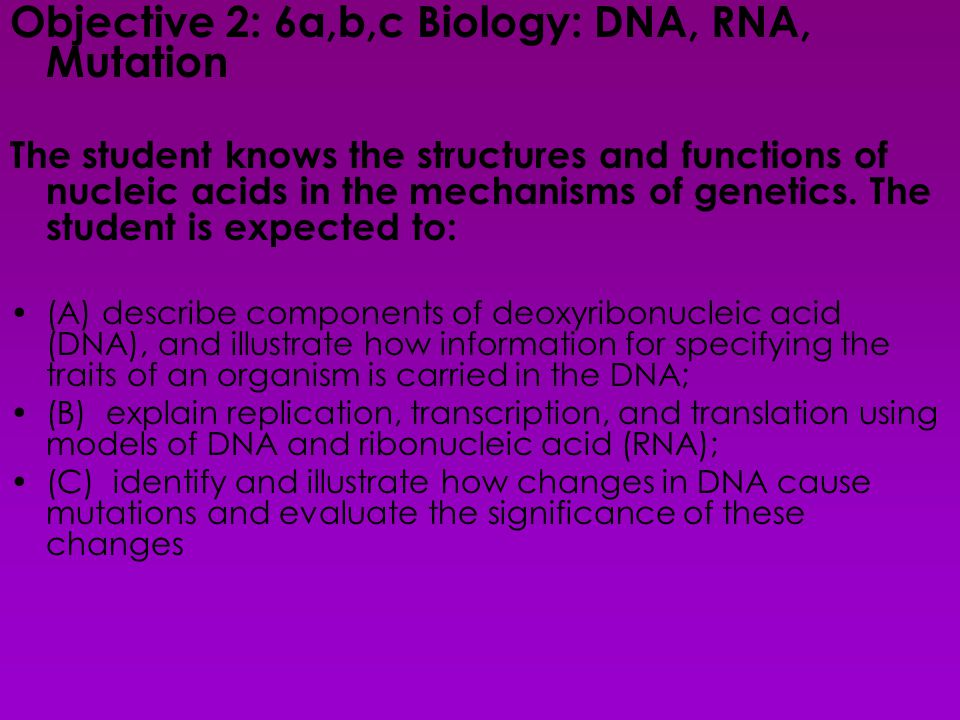 Objective 2: 6a,b,c Biology: DNA, RNA, Mutation The student knows the structures and functions of nucleic acids in the mechanisms of genetics.