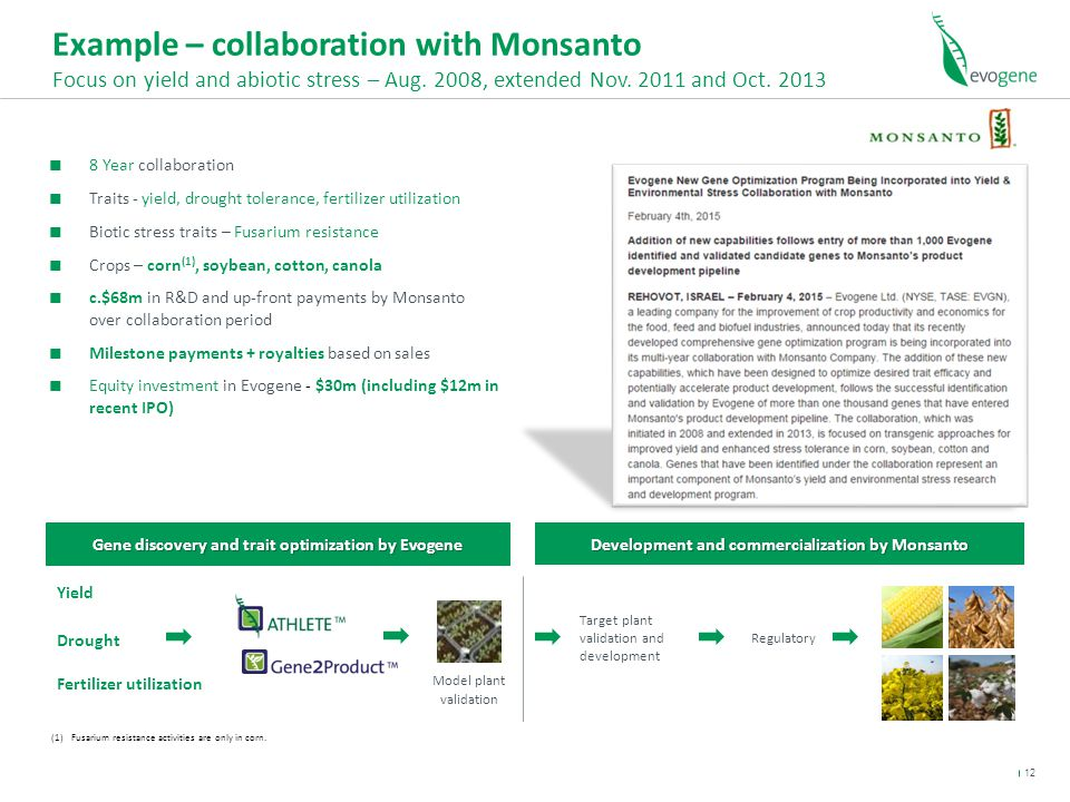Example – collaboration with Monsanto Focus on yield and abiotic stress – Aug.