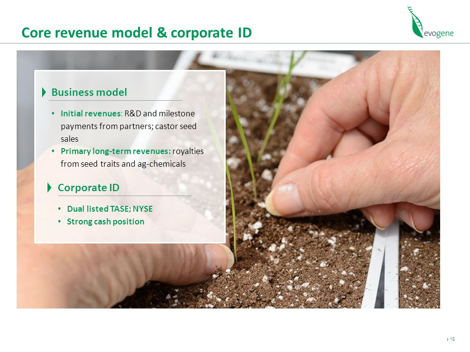 Core revenue model & corporate ID Business model Initial revenues: R&D and milestone payments from partners; castor seed sales Primary long-term revenues: royalties from seed traits and ag-chemicals 18 Corporate ID Dual listed TASE; NYSE Strong cash position