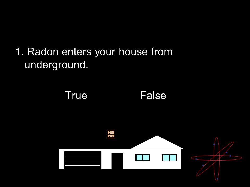 Radon Quiz 1. Radon enters your house from underground. TrueFalse
