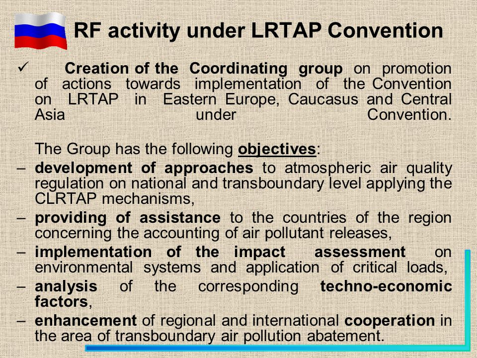 Creation of the Coordinating group on promotion of actions towards implementation of the Convention on LRTAP in Eastern Europe, Caucasus and Central A