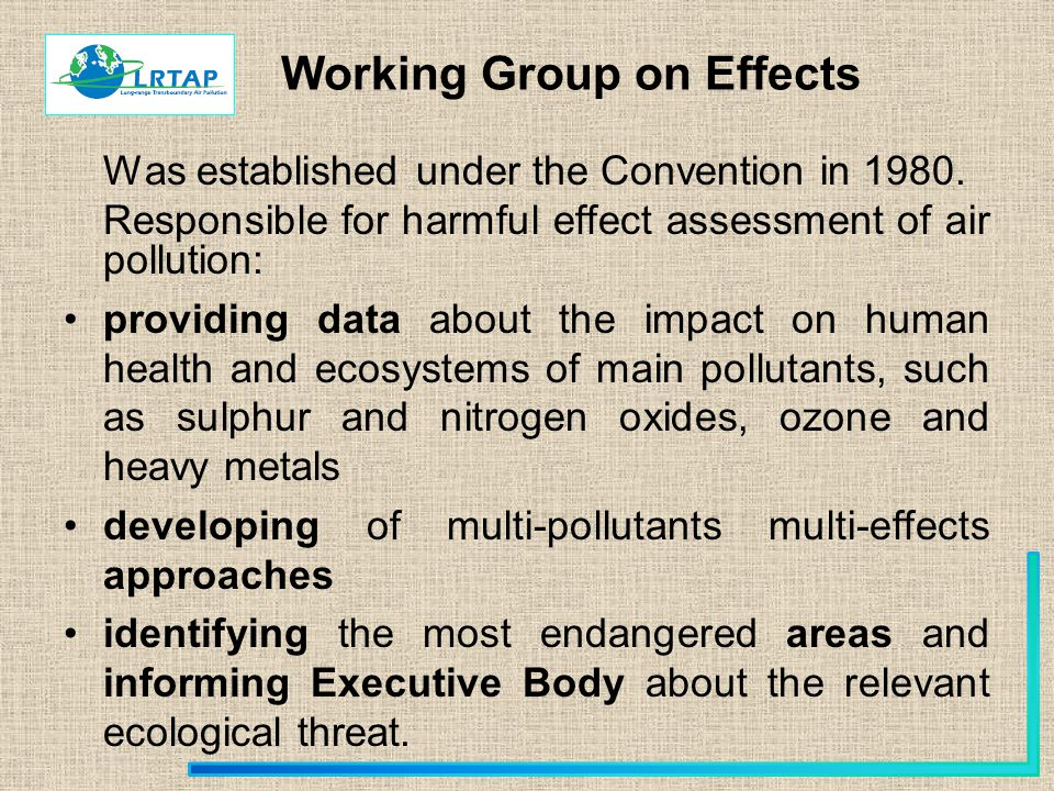 Working Group on Effects Was established under the Convention in 1980.