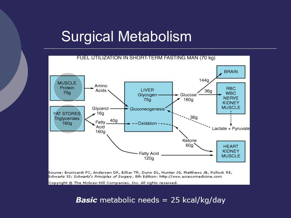 Surgical Metabolism Basic metabolic needs = 25 kcal/kg/day