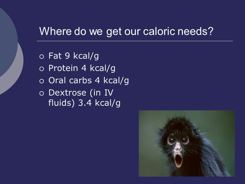Where do we get our caloric needs?  Fat 9 kcal/g  Protein 4 kcal/g  Oral carbs 4 kcal/g  Dextrose (in IV fluids) 3.4 kcal/g