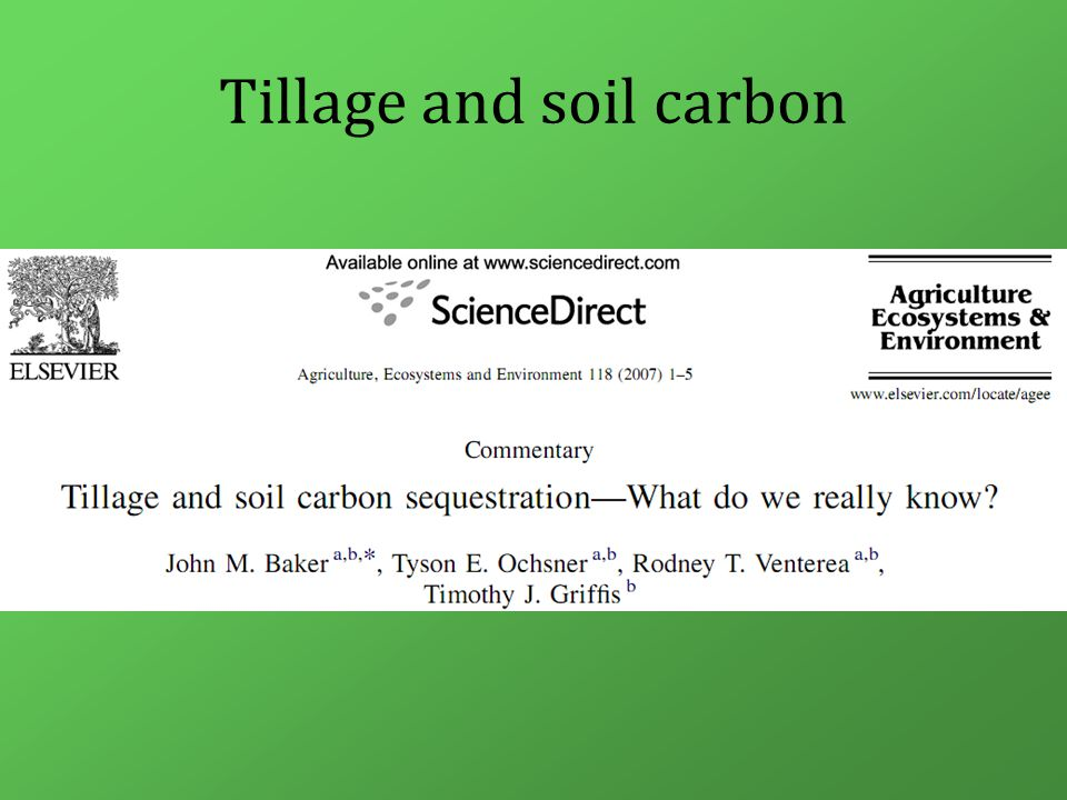 Tillage and soil carbon