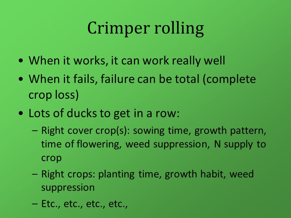 Crimper rolling When it works, it can work really well When it fails, failure can be total (complete crop loss) Lots of ducks to get in a row: –Right cover crop(s): sowing time, growth pattern, time of flowering, weed suppression, N supply to crop –Right crops: planting time, growth habit, weed suppression –Etc., etc., etc., etc.,
