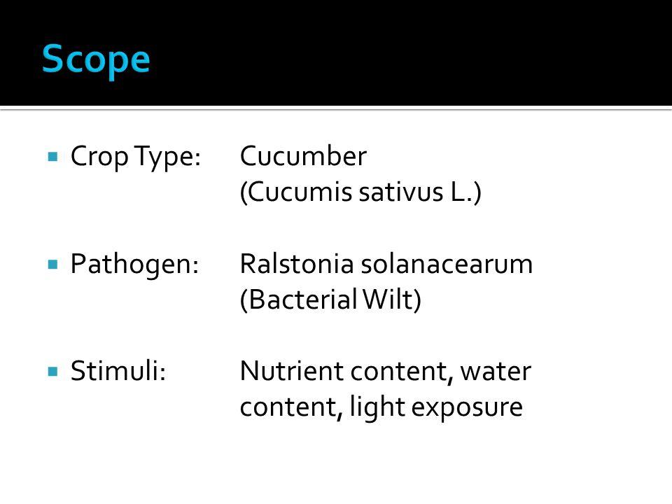  Crop Type: Cucumber (Cucumis sativus L.)  Pathogen: Ralstonia solanacearum (Bacterial Wilt)  Stimuli: Nutrient content, water content, light exposure