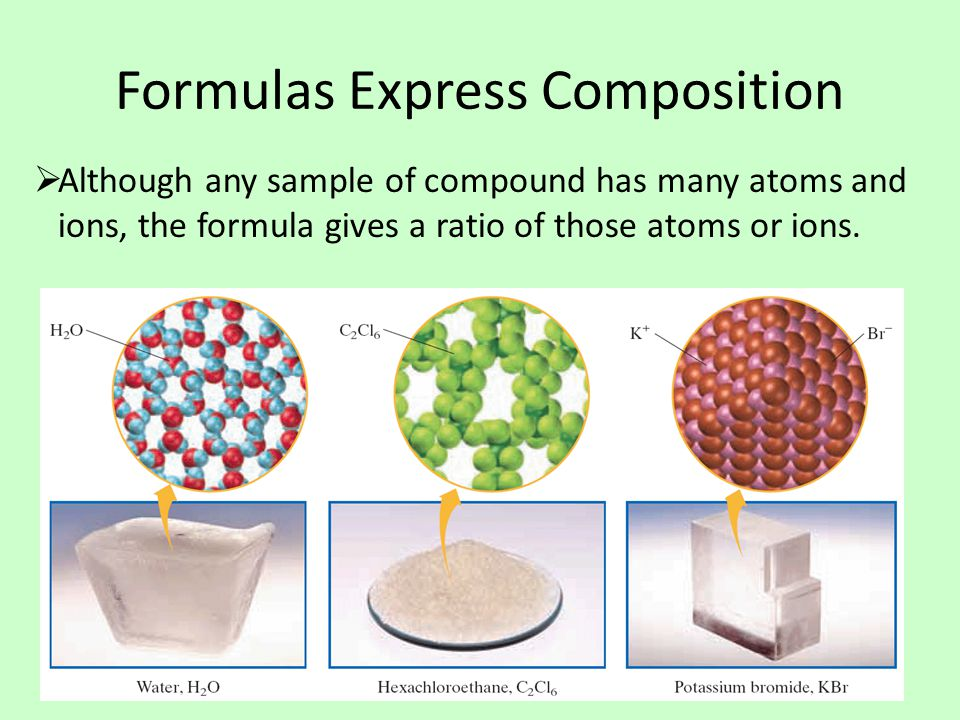 Formulas Express Composition  Although any sample of compound has many atoms and ions, the formula gives a ratio of those atoms or ions.