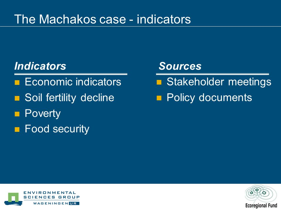 The Machakos case - indicators Indicators Economic indicators Soil fertility decline Poverty Food security Sources Stakeholder meetings Policy documents