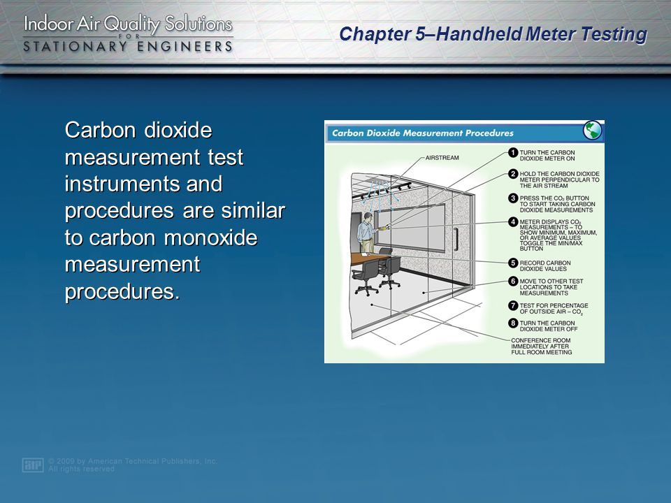 Chapter 5–Handheld Meter Testing Some carbon dioxide exposure limits have been set by the American Society of Heating, Refrigerating and Air-Conditioning Engineers (ASHRAE).