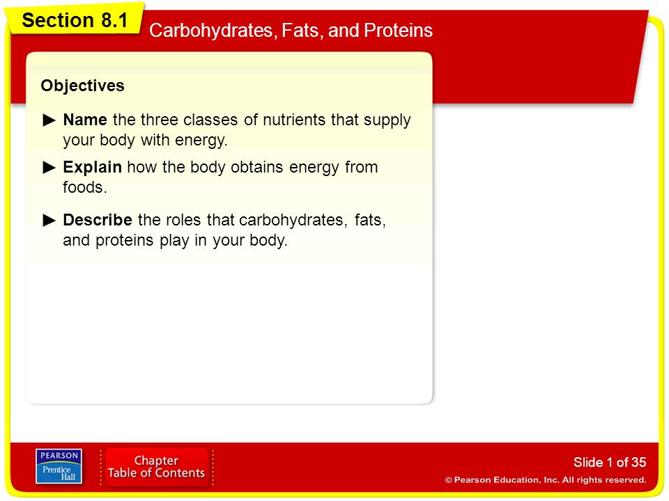 Section 8.1 Carbohydrates, Fats, and Proteins Slide 32 of 35 Vocabulary nutrientA substance in foods that the body needs to regulate bodily functions, promote growth, repair body tissues, and obtain energy.