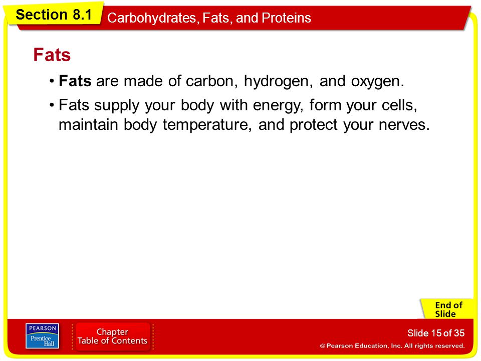 Section 8.1 Carbohydrates, Fats, and Proteins Slide 15 of 35 Fats are made of carbon, hydrogen, and oxygen. Fats Fats supply your body with energy, fo