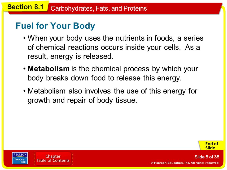 Section 8.1 Carbohydrates, Fats, and Proteins Slide 5 of 35 When your body uses the nutrients in foods, a series of chemical reactions occurs inside y