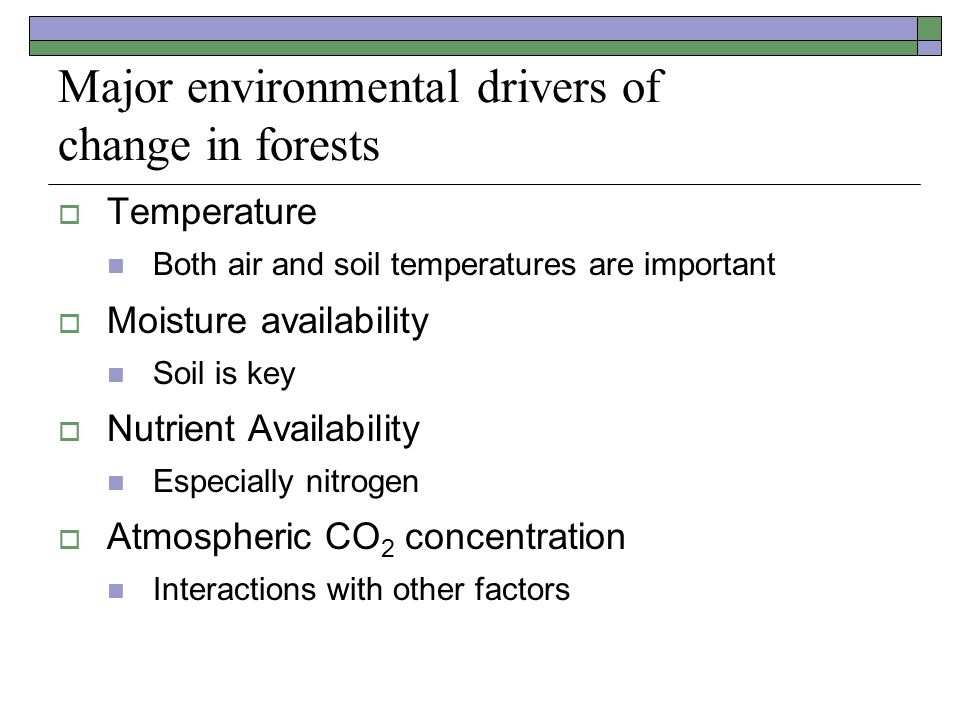 Major environmental drivers of change in forests  Temperature Both air and soil temperatures are important  Moisture availability Soil is key  Nutrient Availability Especially nitrogen  Atmospheric CO 2 concentration Interactions with other factors