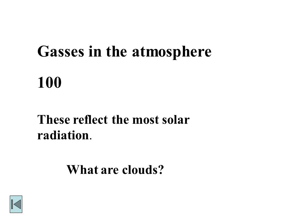 Gasses in the atmosphere 100 These reflect the most solar radiation. What are clouds