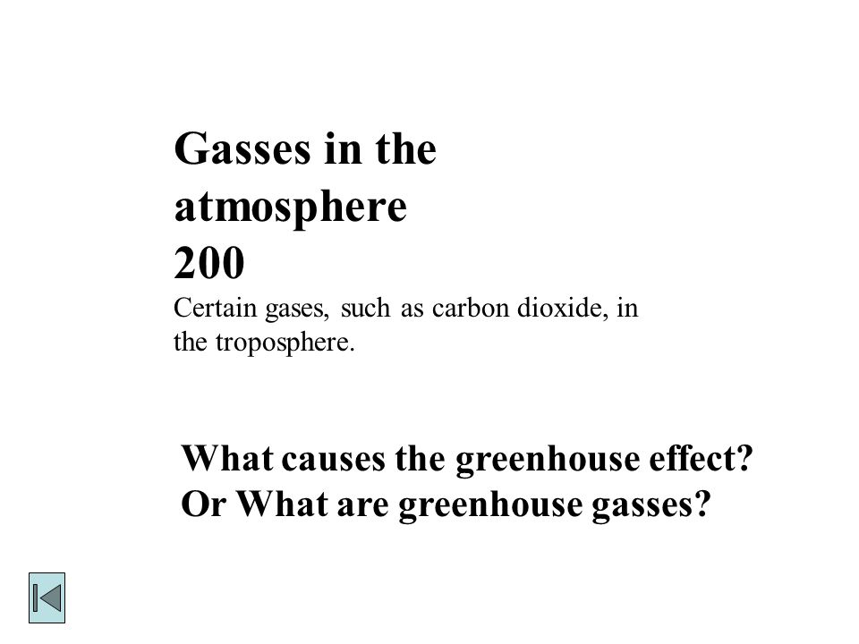 Gasses in the atmosphere 200 Certain gases, such as carbon dioxide, in the troposphere.