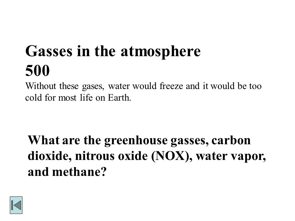 Gasses in the atmosphere 500 Without these gases, water would freeze and it would be too cold for most life on Earth.