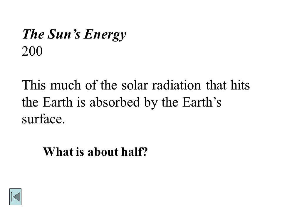 The Sun's Energy 200 This much of the solar radiation that hits the Earth is absorbed by the Earth's surface.