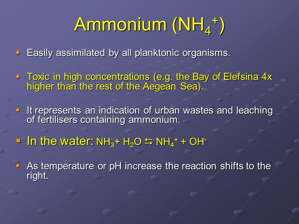 Ammonium (ΝH 4 + )  Easily assimilated by all planktonic organisms.