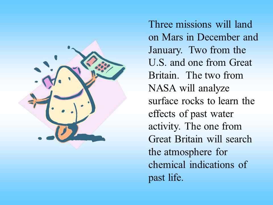 Three missions will land on Mars in December and January.