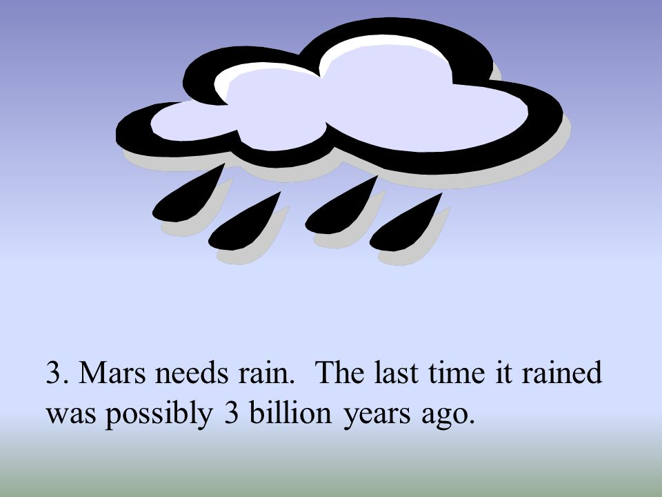 3. Mars needs rain. The last time it rained was possibly 3 billion years ago.