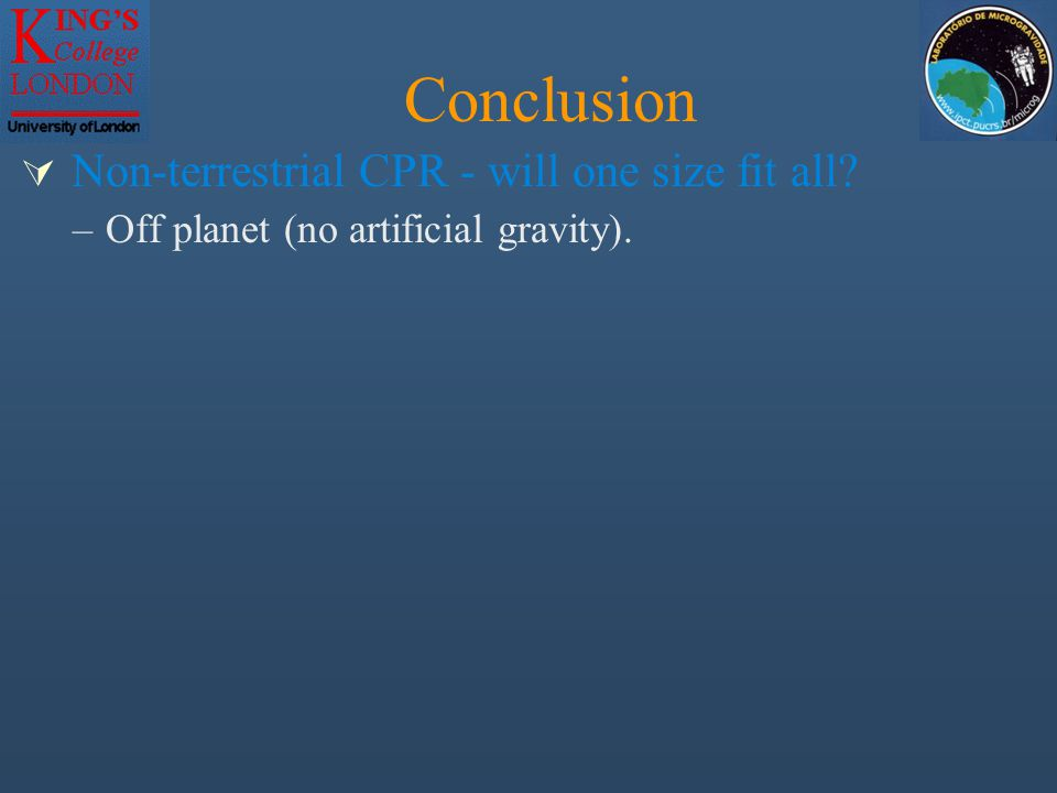  Non-terrestrial CPR - will one size fit all Conclusion