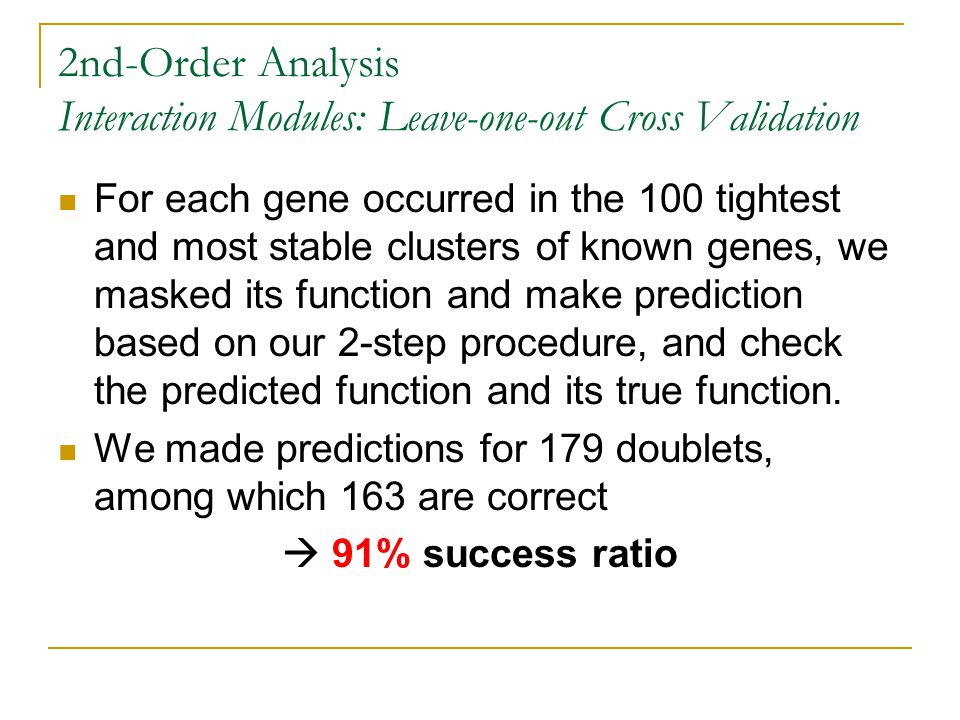 2nd-Order Analysis Interaction Modules: Leave-one-out Cross Validation For each gene occurred in the 100 tightest and most stable clusters of known ge