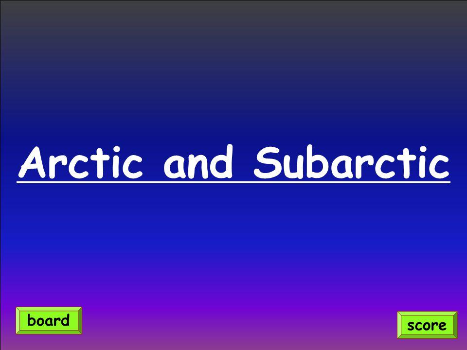 Arctic and Subarctic score board