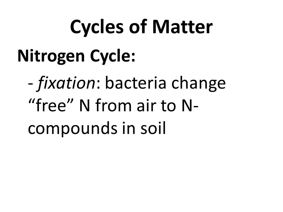 Cycles of Matter Nitrogen Cycle: - fixation: bacteria change free N from air to N- compounds in soil