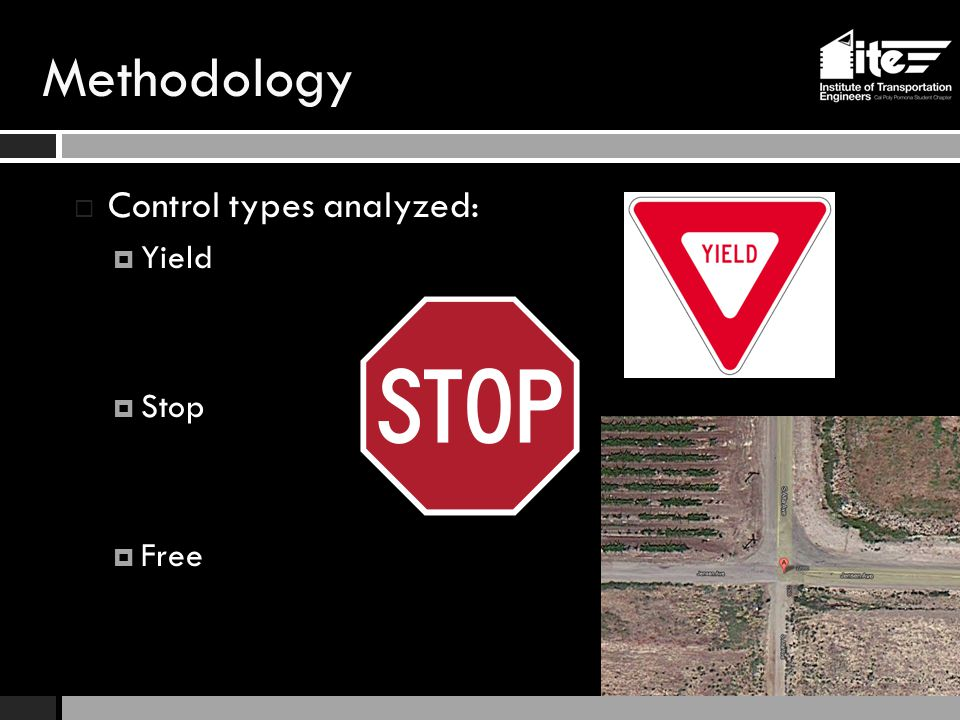 Methodology  Control types analyzed:  Yield  Stop  Free