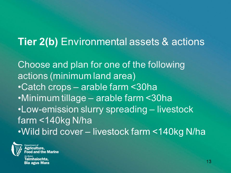 Tier 2(b) Environmental assets & actions Choose and plan for one of the following actions (minimum land area) Catch crops – arable farm <30ha Minimum tillage – arable farm <30ha Low-emission slurry spreading – livestock farm <140kg N/ha Wild bird cover – livestock farm <140kg N/ha 13