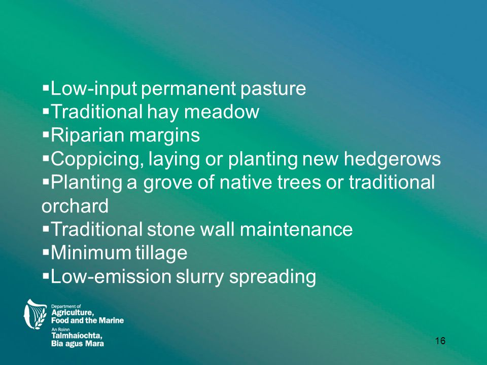  Low-input permanent pasture  Traditional hay meadow  Riparian margins  Coppicing, laying or planting new hedgerows  Planting a grove of native trees or traditional orchard  Traditional stone wall maintenance  Minimum tillage  Low-emission slurry spreading 16