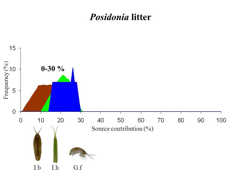 Posidonia litter Source contribution (%) Frequency (%) 0-30 % I.bI.hG.f