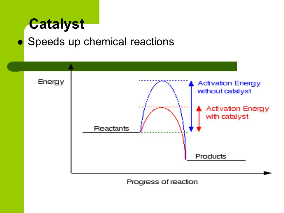 Catalyst Speeds up chemical reactions