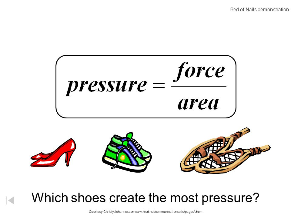 Pressure F A = P A P = F Pressure occurs when a force is dispersed over a given surface area.